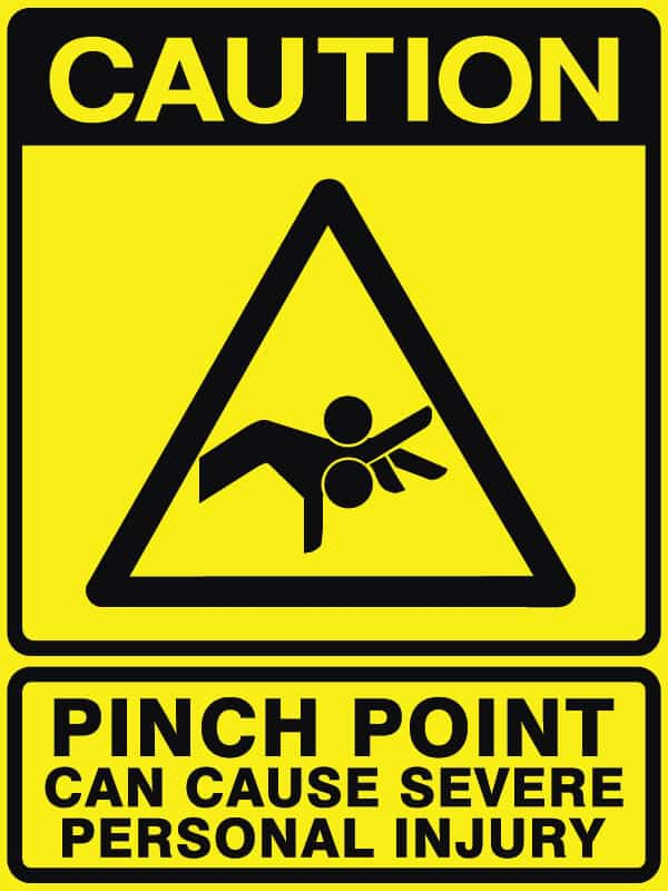 Caution Pinch Point Safety Sign