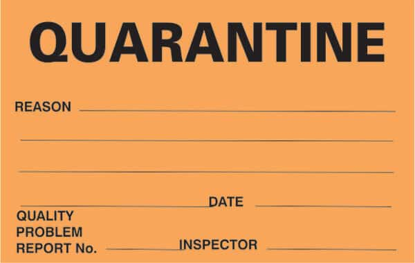quarantine labels signs safety