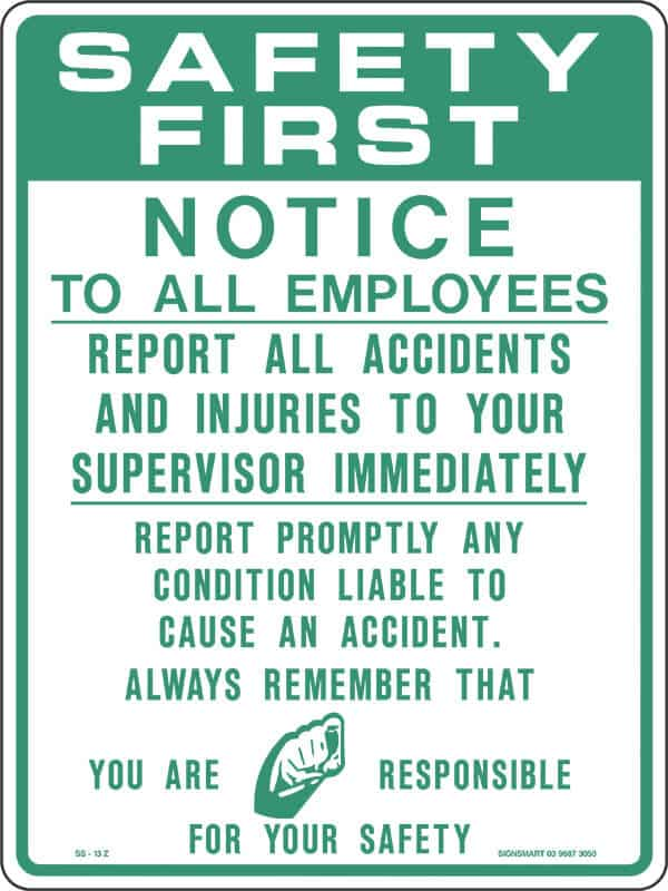 SS13 SAFETY FIRST NOTICE - signsmart - signs