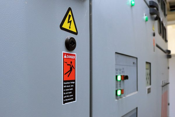 Electrical equipment danger warning sign