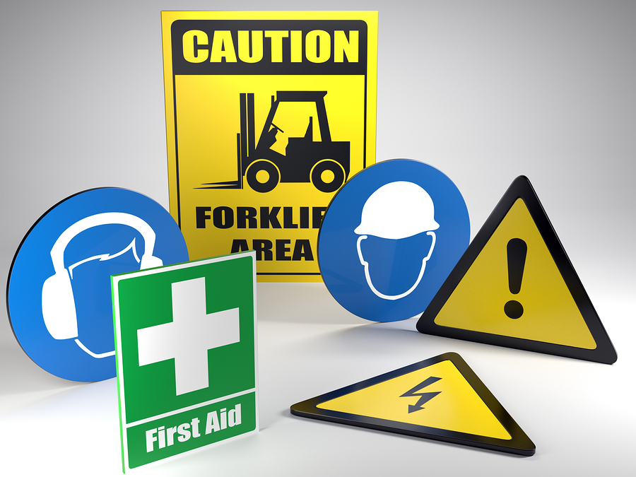 Workplace safety signs construction site